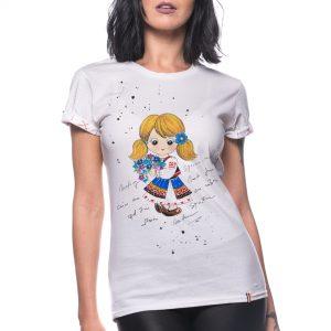 Tricou pictat 'DOMNIȚĂ CU VIORELE'