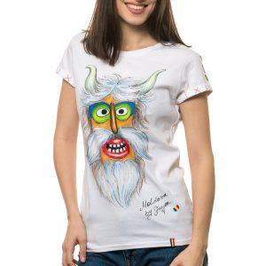 Tricou pictat 'MASCĂ TRADIȚIONALĂ MOLDOVA 2'